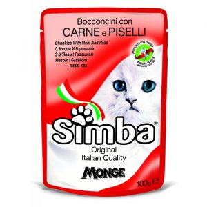 Simba Monge Cat Food Pouch with Beef Peas